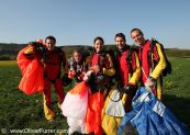 skydivers after landing getting together
