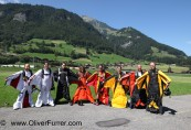 Wingsuit flyer getting ready to enter the plane