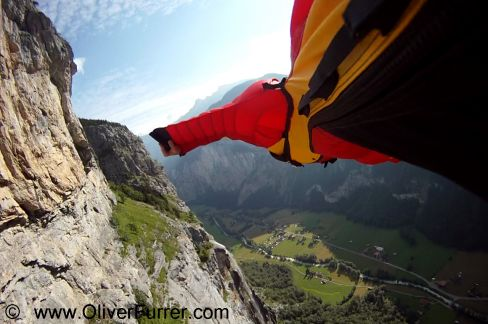 proximity flying along the BASE jumper cliff