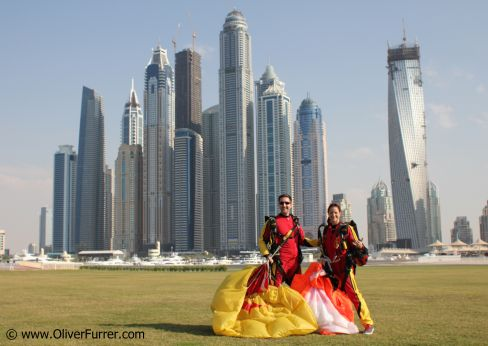 skyline Dubai with skydivers