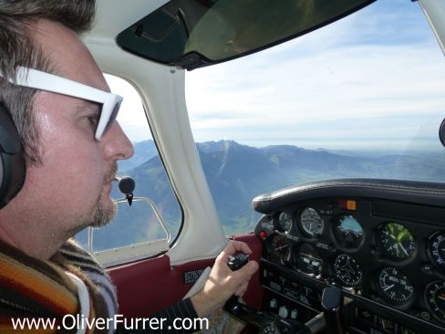 Oliver the pilot flying the Piper aircraft