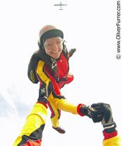 freefly head down girl over skydive Fano
