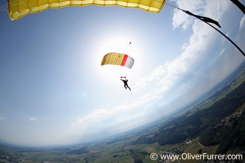 Skydiver under canopy