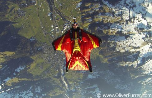 Acrobatic Wingsuit back flying