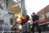 indoor skydiver, wind tunnel, back flying